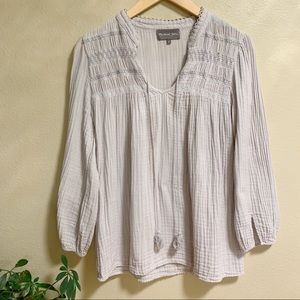 Michael Stars • Gray Cotton Peasant Blouse